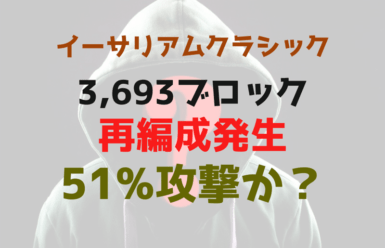 イーサリアムクラシック(Ethereum Classic)で3,693ブロックの再編成!51%攻撃か?